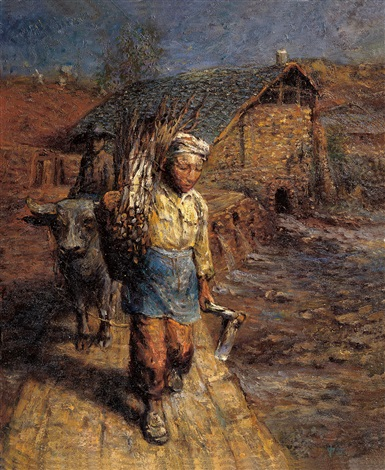 故乡组曲-走在水堤上的农夫 (homeland portraits - a farmer walking on the bank) by luo zhongli