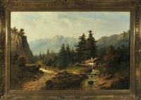 romantische gebirgslandschaft mit wanderer am bachlauf, im hintergrund eine hütte by julius lange
