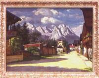 dorfstraße mit bergansicht by alois pfund