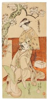 scène de théâtre à deux acteurs (hosoban) by ippitsusai buncho