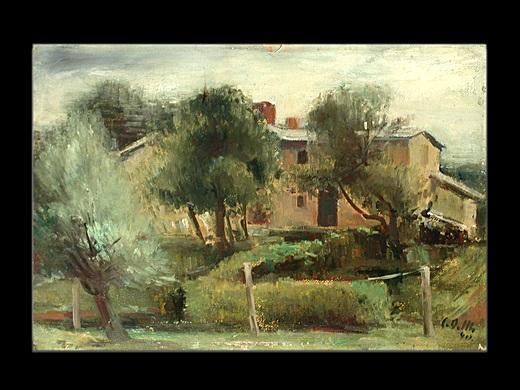 Südländische Gebäude zwischen Olivenbäumen by Carl Otto