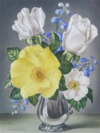 flowers in a silver vase by james noble
