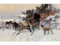 jäger an einem pferdekarren mit erlegtem reh, in begleitung von jagdhunden in schneelandschaft by jaroslav friedrich julius vesin