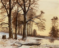 pond in winter landscape by giuseppe zago