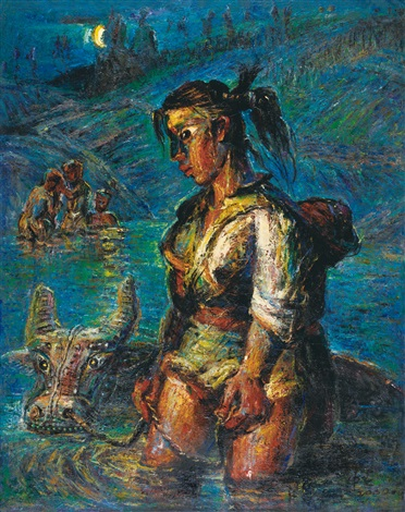 过河少女 a girl crossing the river by luo zhongli