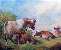 cattle in a landscape by william huggins