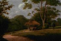slotspark med pavillion, legende born og et spadserende par by johannes ludwig camradt