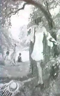 junges madchen mit rotem mantel in einem park am      wasser by lipot llencz