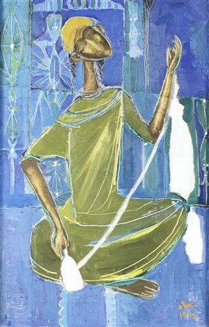 a seated woman winding wool by suad al attar