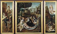 central panel: the entombment; the wings: the road to cavalry, and the resurrection (triptych) by flemish school-antwerp (16)