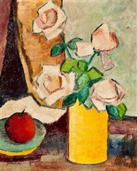 roses in a yellow vase by donald bain