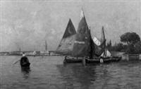 segelboote vor venedig by richard lang-heilbronn