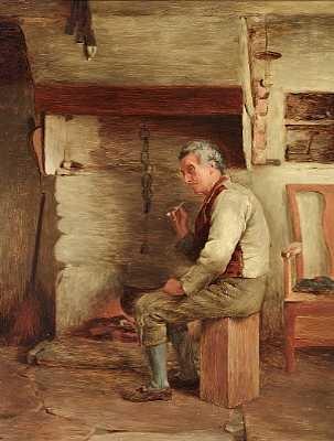 mand der ryger sin pibe foran ildstedet by william eadie