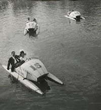 original photograph with couples on pedalos by robert doisneau