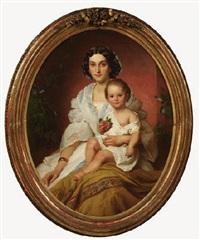 vornehme dame mit ihrem kind von wicken umrankt by franz dobiaschofsky