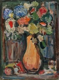 blumenstrauss in gelber vase by walter helbig