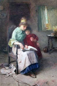 mother and child reading a story by carlton alfred smith
