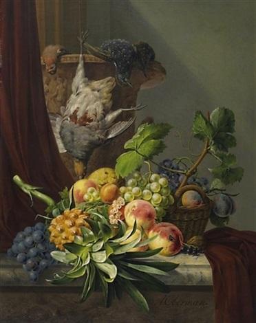 variastilleben mit früchten und erlegten singvögeln by anthony oberman