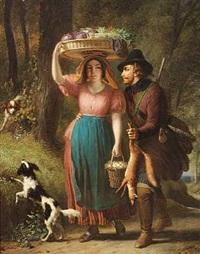 en jæger gor kur til en pige, der er på vej til markedet med grontsager og æg by françois verheyden