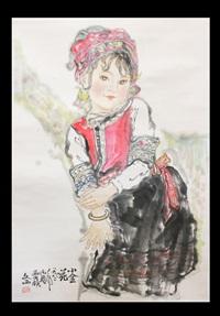 chinese figure painting by liu wenxi