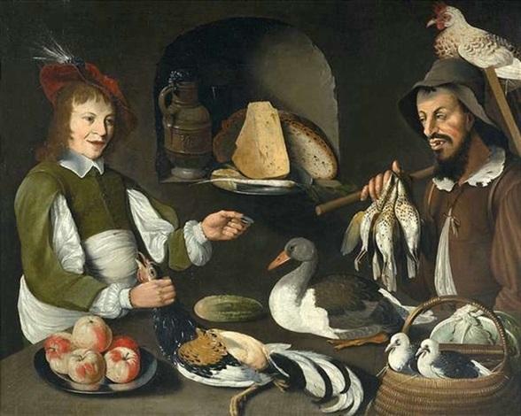 vorratskammer mit edelmann und geflügelhändler by albrecht kauw the elder