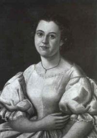 bildnis einer jungen dame in spitzenverziertem weissen   seidenkleid by karl friedrich johann von müller