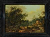 idyllische waldlandschaft mit haus am bachlauf, ziegenhirte und zwei bauernfrauen mit kind by franz joseph manskirch