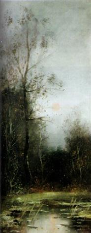 sommerliche waldlandschaft mit teich by lissa