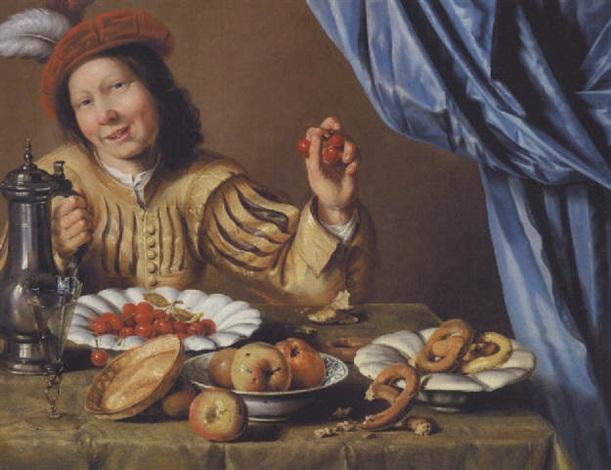 ung adelsmand siddende ved et veldækket bord med kirsebær aebler og kringler på fade by christian van couwenbergh