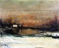 winter landscape by albert saverys