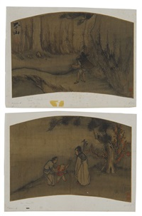 woodsman gathering branches (+ scholars with a youth; pair) by ma chuan-tu