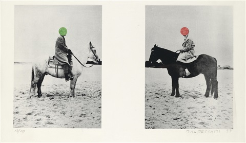 two horses and rider with blue parrot in 2 parts by john baldessari