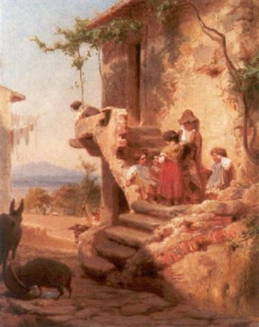eine gruppe spielender kinder an einem italienischen bauerngehöft by francesco beda