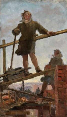 Bauarbeiterin Auf Einem Gerust By Adrianna Solomonowna Magidson On