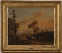scène paysanne dans un paysage by jean voltaire huber