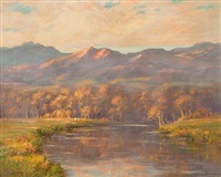 evening falls on the river by augustus william enness