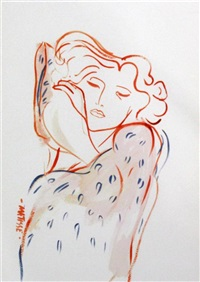 head of a sleeping woman (after matisse) by john myatt