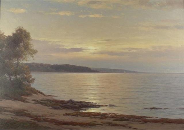 küstenlandschaft auf rügen in der abendsonne im hintergrund ein einsamer segler by carl kenzler
