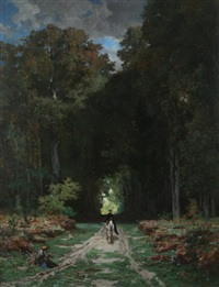 equestrienne on wooded lane by jules (joseph augustin) laurens