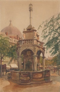 fountain in plaza by adolphe forestier