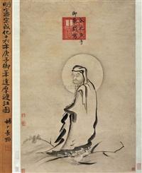 达摩渡江图 (calligraphy) by emperor xianzong