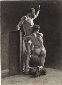 two male nudes by johan elis kortman