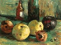 stilleben mit äpfeln und flaschen by georg vollmer
