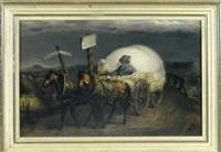 vom saulgau nach sigmaringen - schlafender bauer mit weißem hund auf seinem heuwagen und prächtigen pferde by karl martini