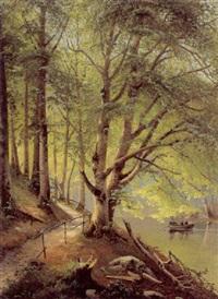 skovparti med en mand og to damer i en robåd på en å by siegfried hass