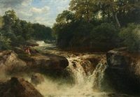 falls on the river, conway, north wales by john brandon smith