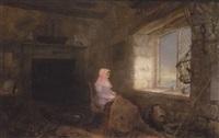 interior med ung kvinde ved et vindue by sydney herbert