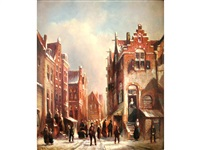 town scene on a winter day by pieter gerardus vertin
