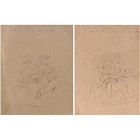 coppie di popolane sedute (+ another; 2 works) by mario de maria