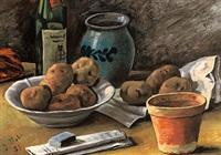stilleben mit kartoffeln, irdenem geschirr und weinflasche by georg vollmer